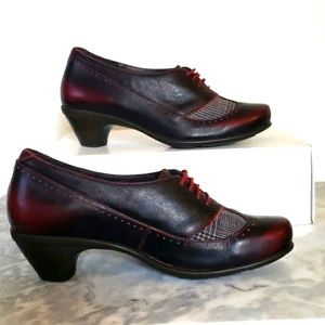 NAOT Lace up Oxford Leather Heels, Plaid Tweed Detail, Black Red, Size 38